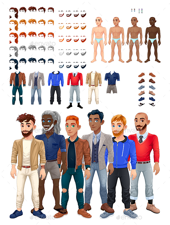 Dresses and Hairstyles Game with Male Avatar - People Characters