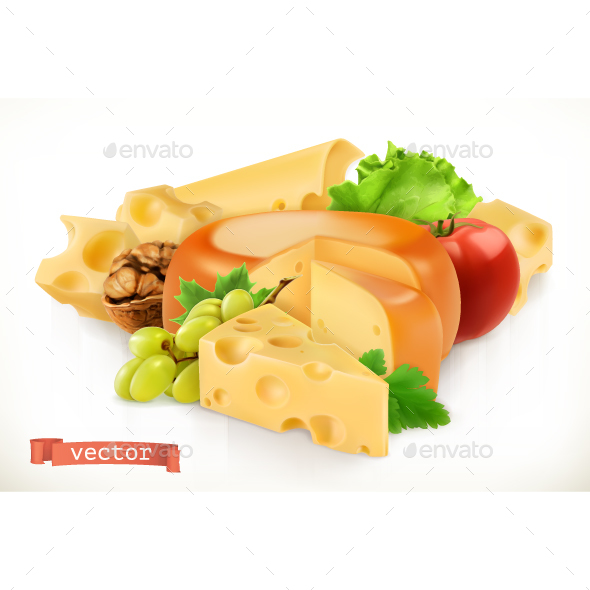 Cheese, Fruits And Vegetables - Vectors