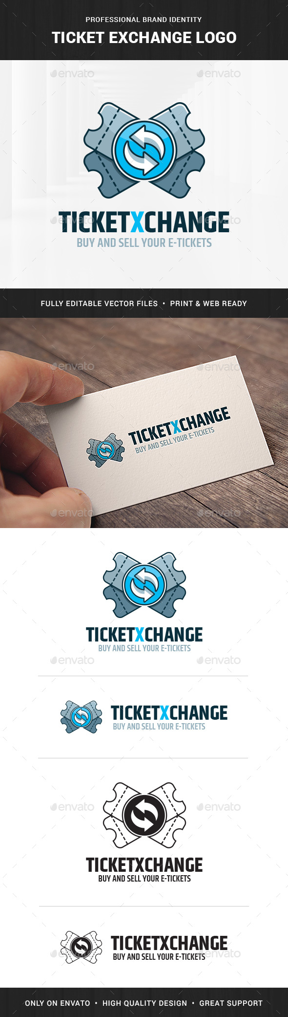Ticket Exchange Logo Template - Objects Logo Templates