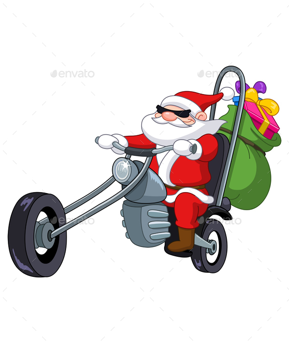 GraphicRiver Santa with Motorcycle 20951389