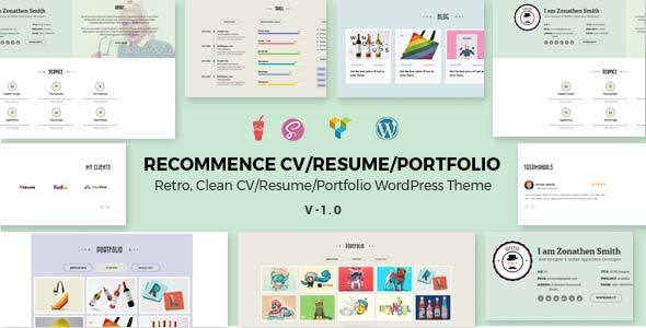 Recommence | Retro Resume WordPress Theme - Portfolio Creative