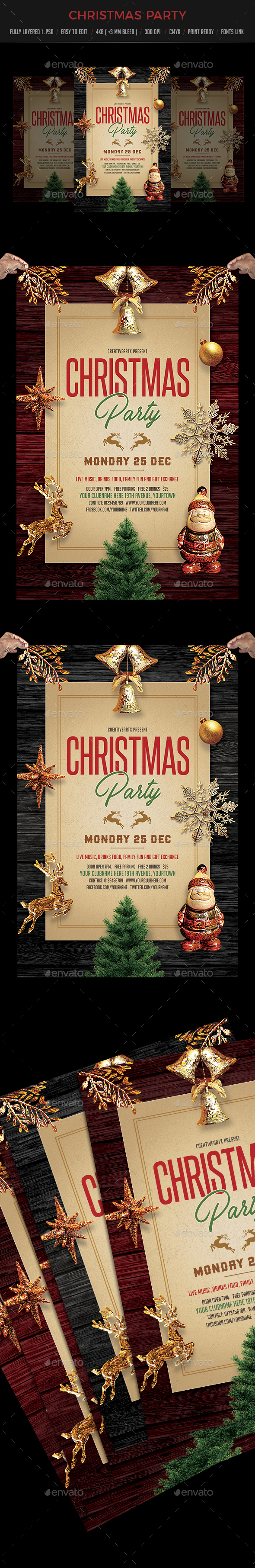 GraphicRiver Vintage Christmas Party Flyer 20951754