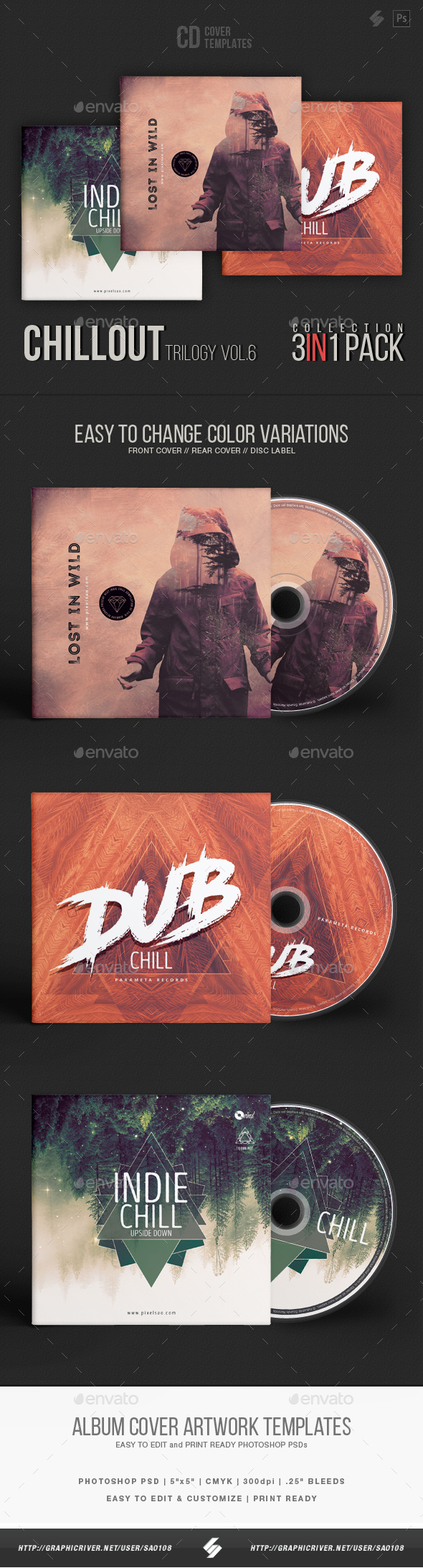 Chillout Trilogy vol.6 - CD Cover Templates Bundle - CD & DVD Artwork Print Templates