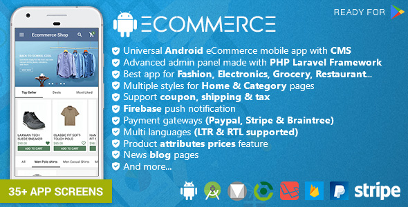 CodeCanyon Android Ecommerce Universal Android Ecommerce Store Full Mobile App with Laravel CMS 20952416