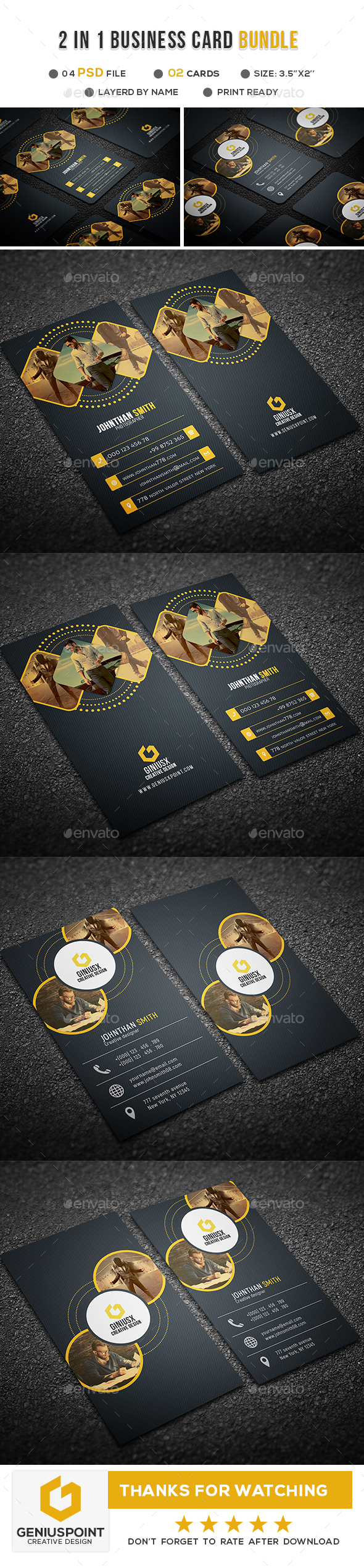 GraphicRiver 2 in 1 Business Card Bundle 20952606