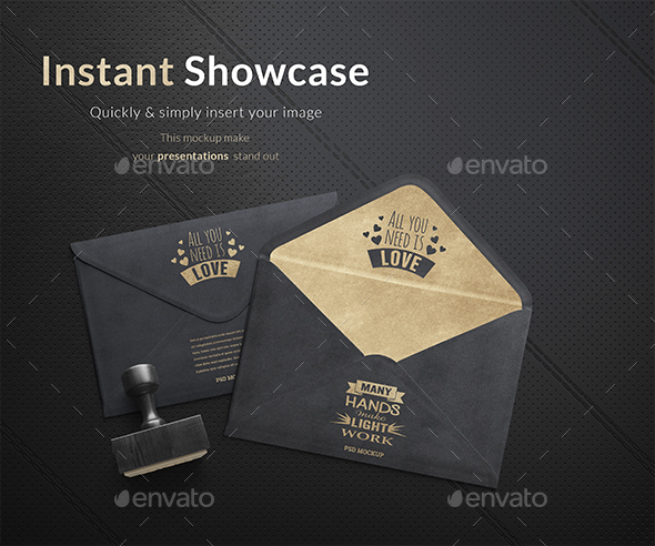 Gold Envelope Mockup - Product Mock-Ups Graphics