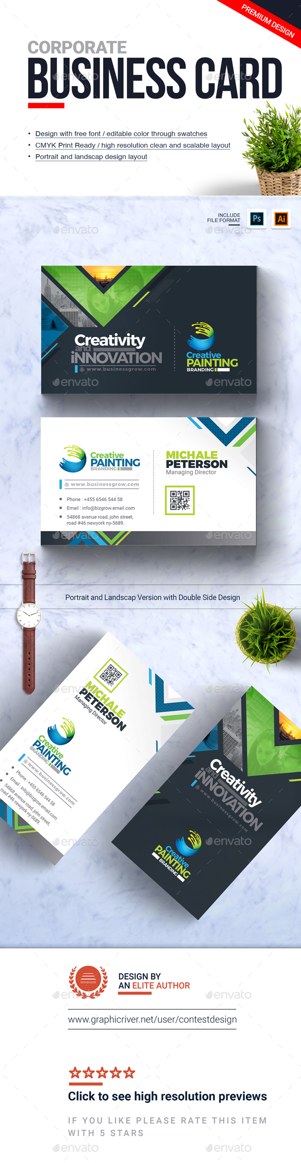 Corporate Business Card Design Template - Corporate Business Cards