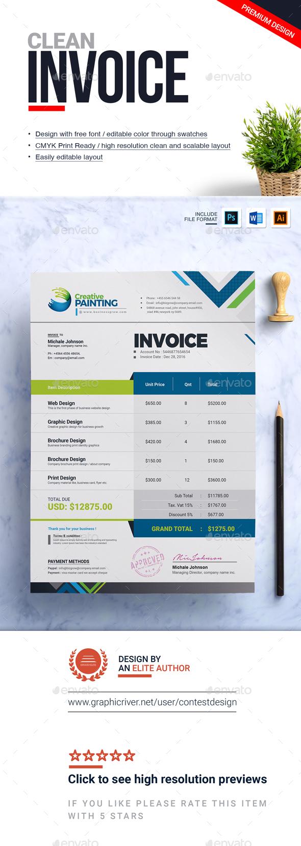 GraphicRiver Invoice Design Template 20952683