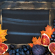 Autumn frame with chalk board, leaves, figs and grape,  space fo - PhotoDune Item for Sale