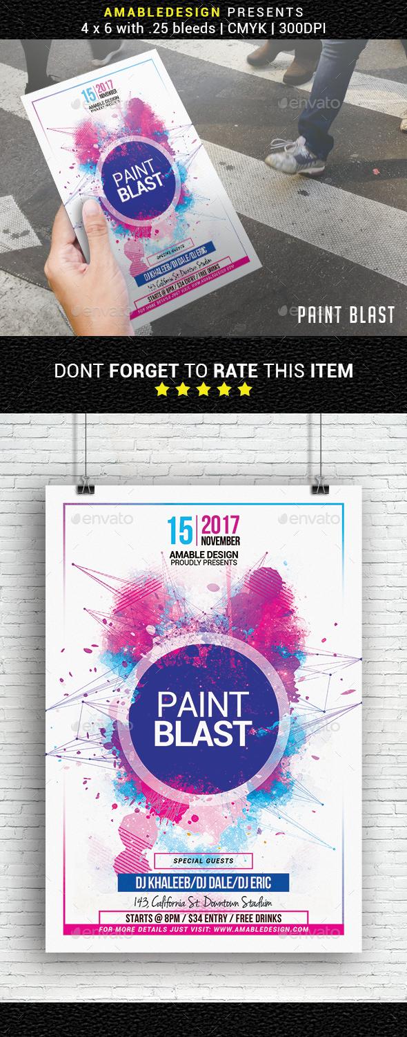 Paint Blast Party Flyer - Events Flyers