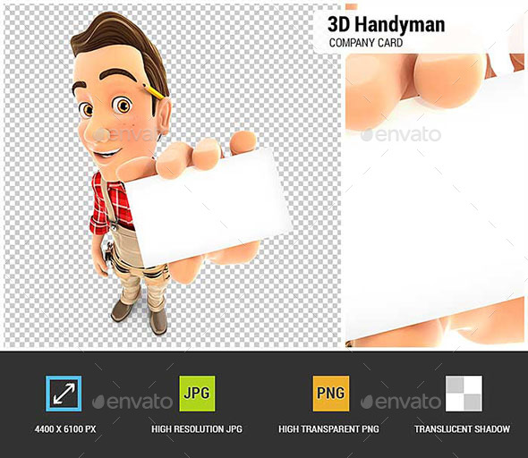 3D Handyman Holding Company Card - Characters 3D Renders