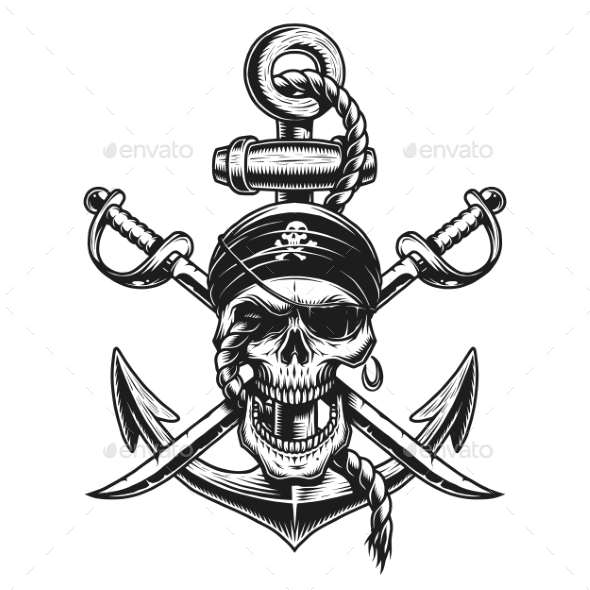 GraphicRiver Pirate Skull Emblem with Swords and Anchor 20952831