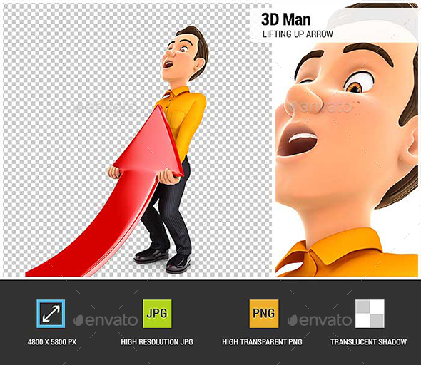 3D Man Lifting up Red Arrow - Characters 3D Renders