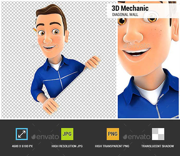 GraphicRiver 3D Mechanic Behind Diagonal Wall 20952856
