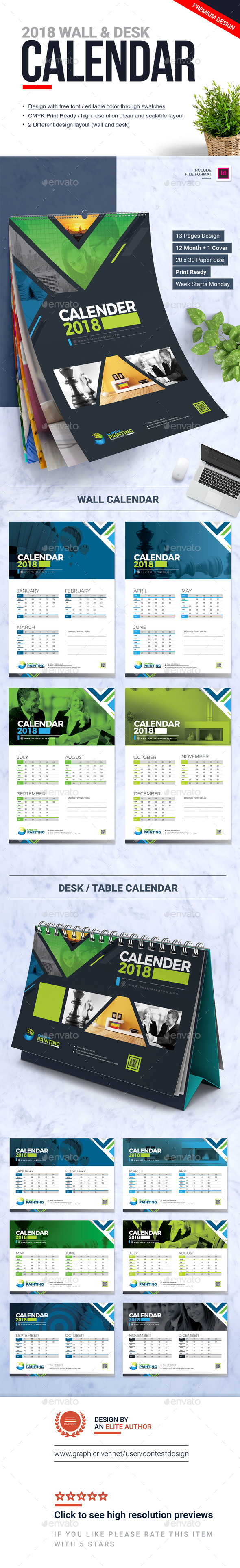 GraphicRiver 2018 Wall and Desk Calendar Design Template 20952861
