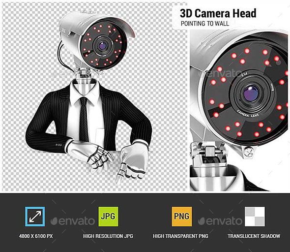 GraphicRiver 3D Security Agent with Camera Head Pointing to Empty Wall 20952865