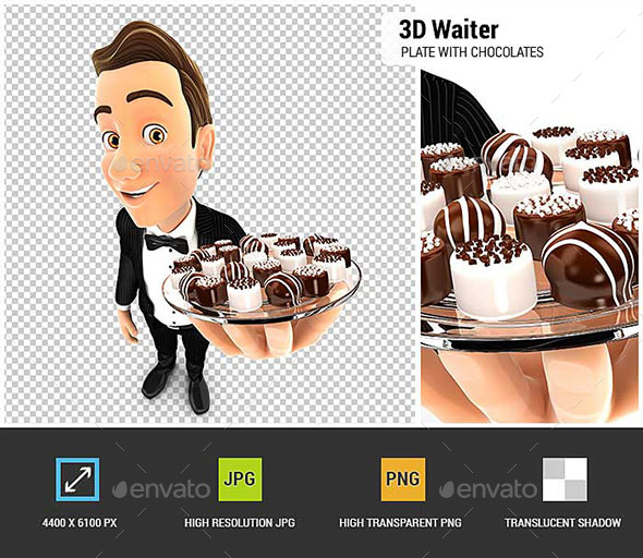 GraphicRiver 3D Waiter Holding Plate with Various Chocolates 20952873
