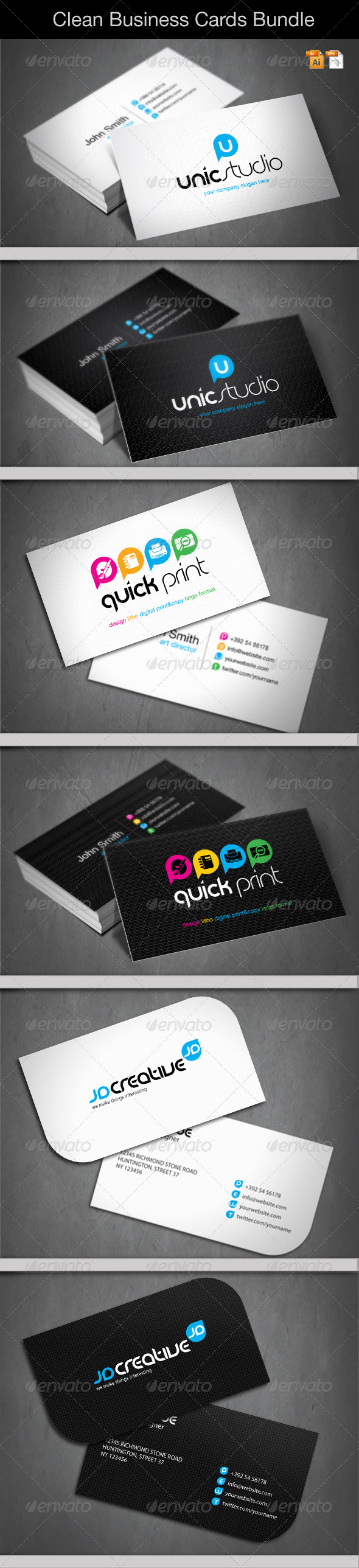Clean Business Cards Bundle - Corporate Business Cards