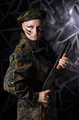 Soldier woman in beret