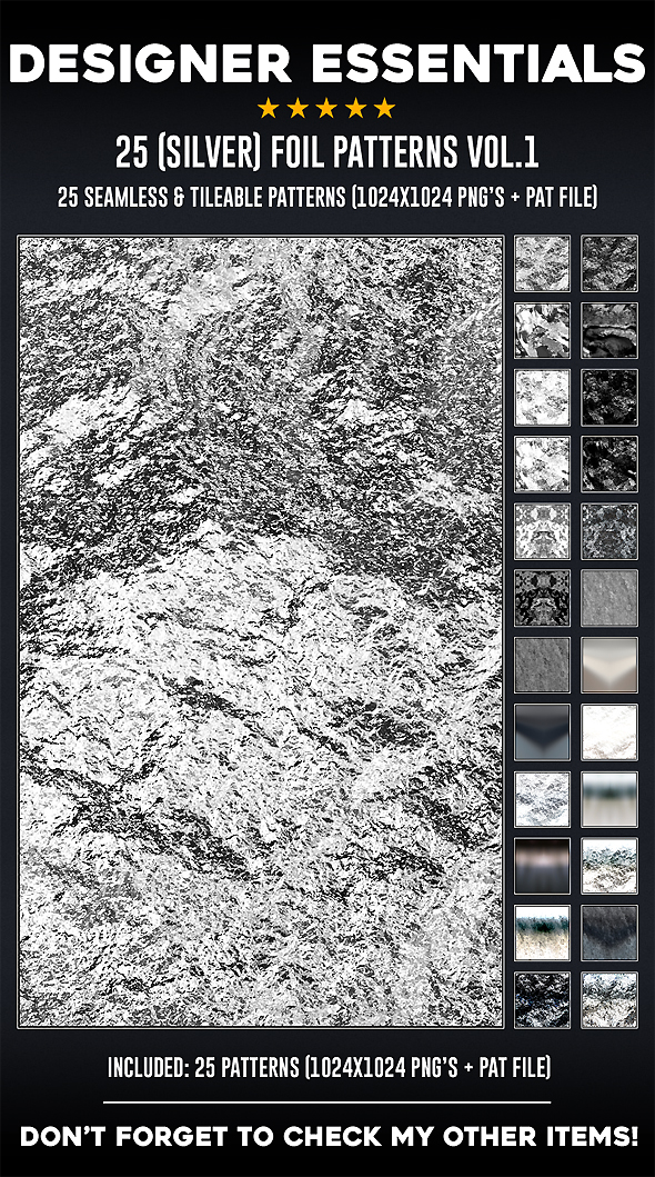 25 Tileable / Seamless (Silver) Foil Patterns - Miscellaneous Textures / Fills / Patterns
