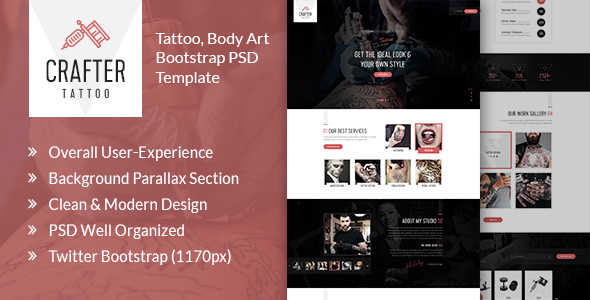 Crafter Tattoo - Body Art Bootstrap PSD Template - Art Creative