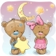 Teddy Bear Girl and Boy with a Star