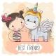 Cartoon Girl and Unicorn