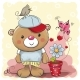 Cartoon Teddy Bear with Flower