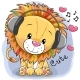 Cartoon Lion with Headphones and Hearts
