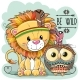 Cartoon Tribal Lion and Owl