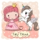 Cartoon Fairy Tale Princess and Unicorn