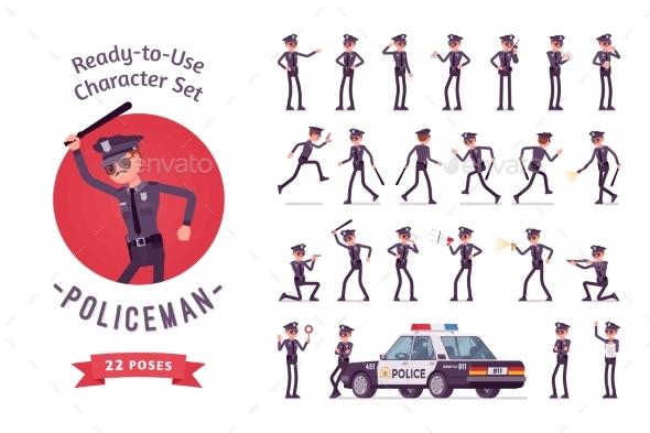 GraphicRiver Policeman Character Creation Set 20953319