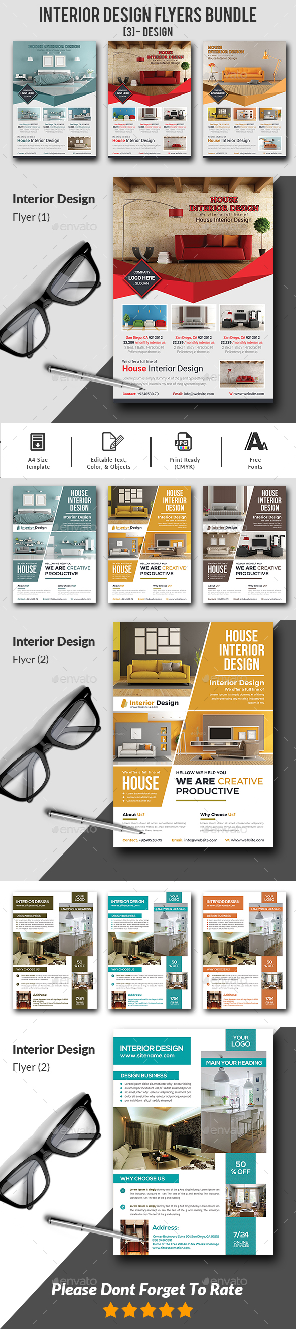 GraphicRiver Interior Design Flyers Bundle 20953321