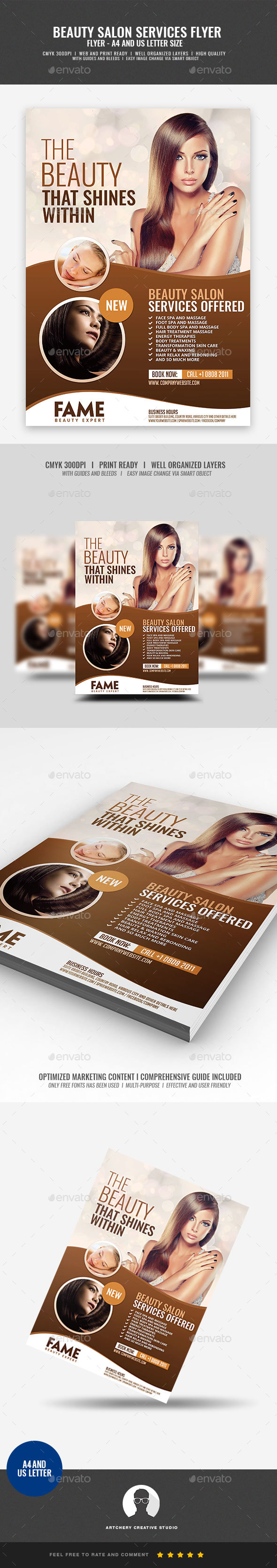 Hair Salon and Makeup Services - Corporate Flyers