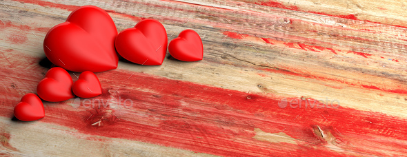 Red hearts on wooden background. 3d illustration - Stock Photo - Images