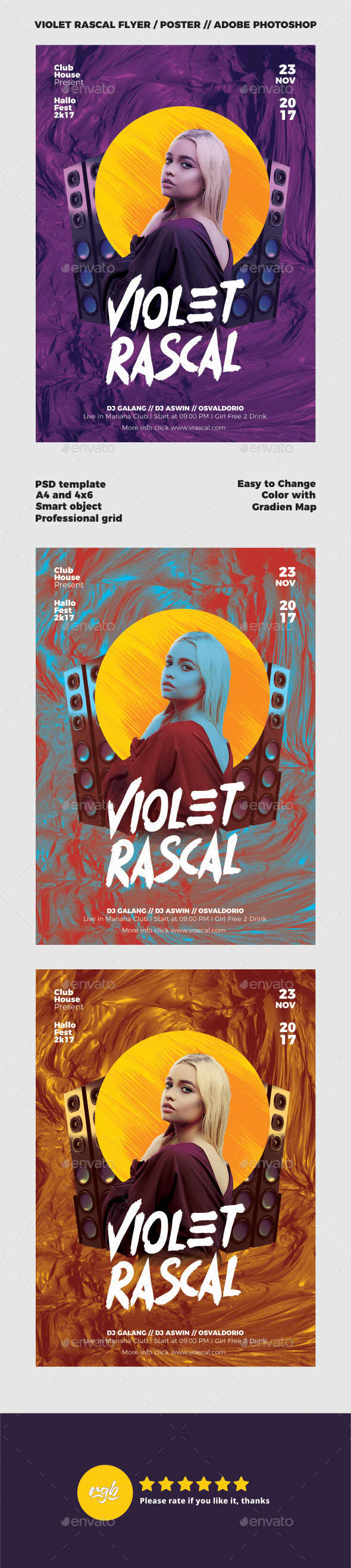 Violet Rascal DJ Flyer Template - Clubs & Parties Events