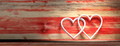 White hearts on wooden red background. 3d illustration