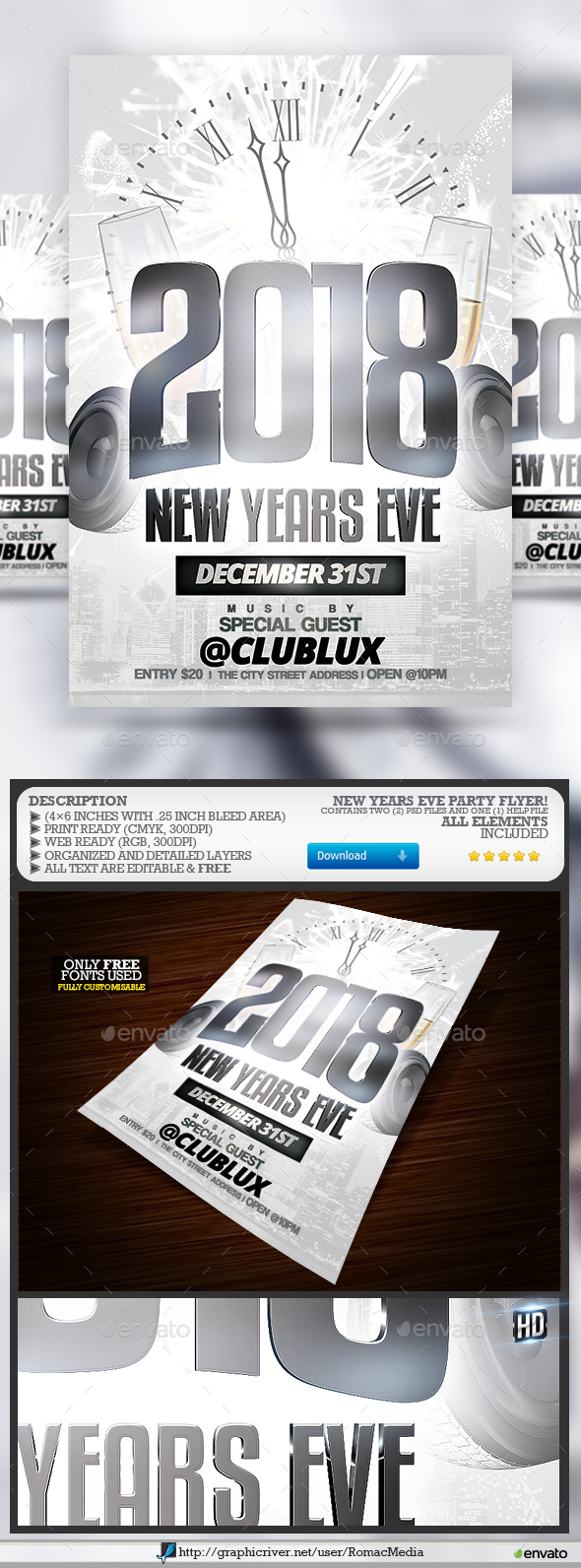 White New Years Eve Party by RomacMedia | GraphicRiver