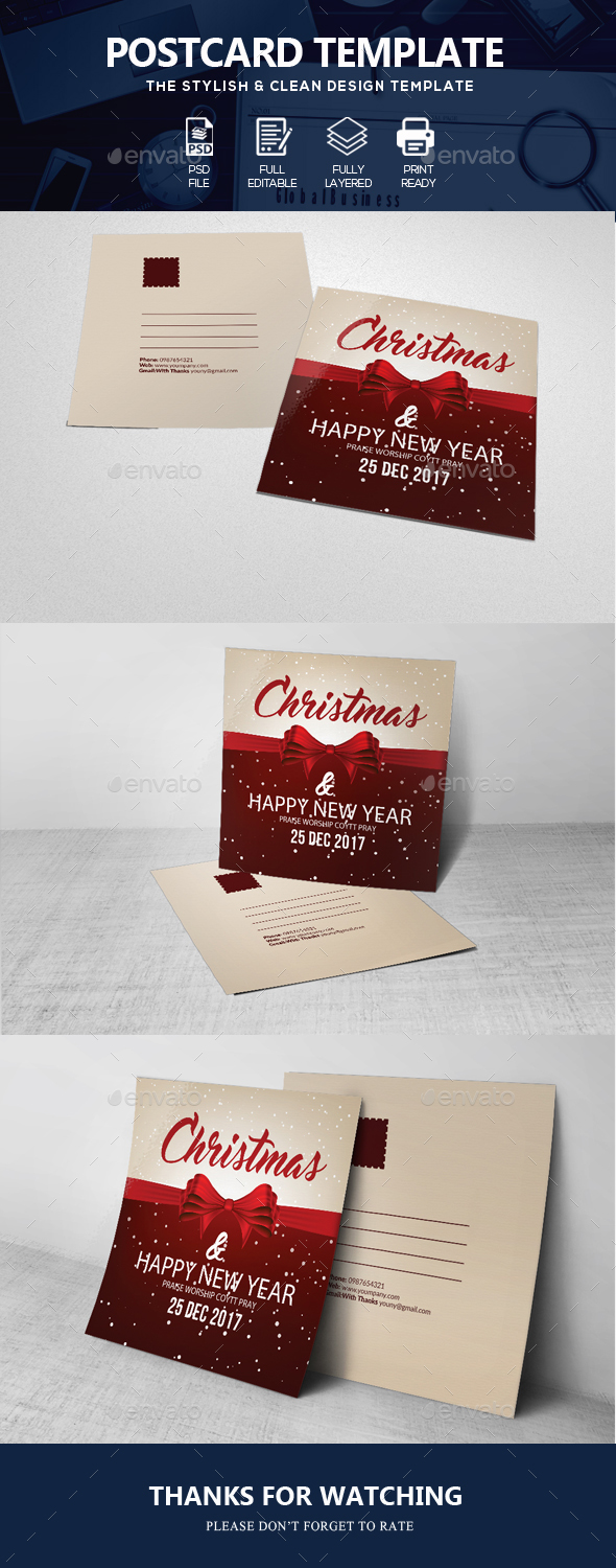 GraphicRiver Charistmas Greeting Post Card 20953956