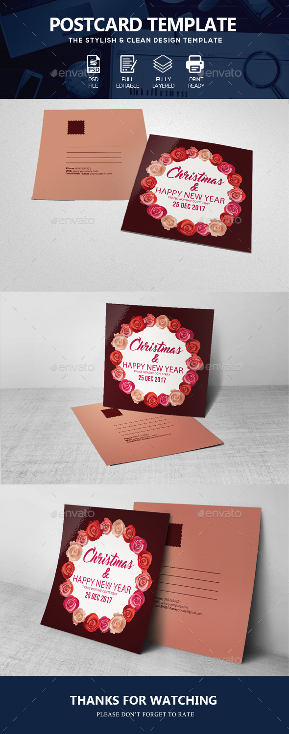 GraphicRiver Happy Christmas Post Card 20954050