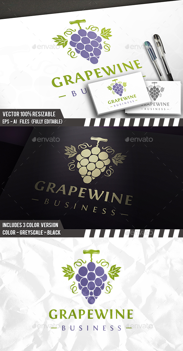 Wine Grapes Logo - Food Logo Templates