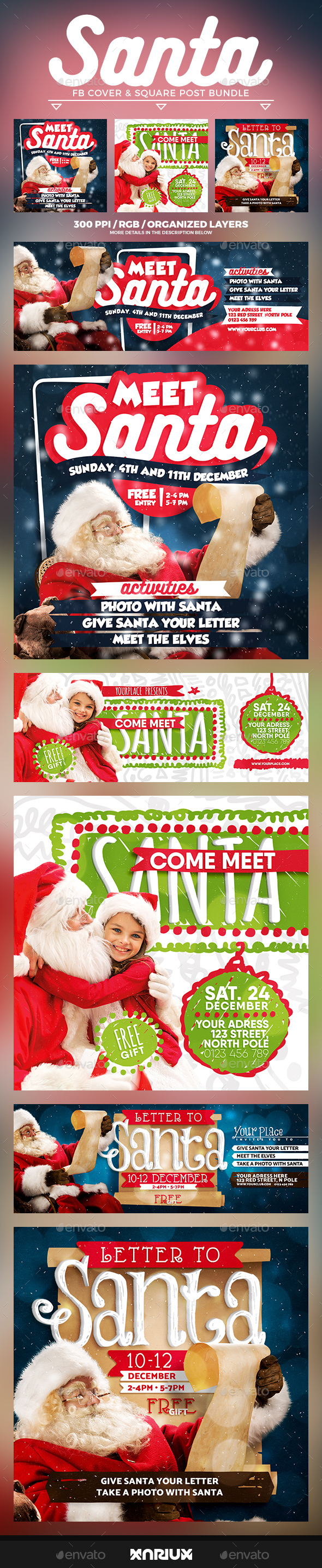 Santa Facebook Cover Bundle - Social Media Web Elements