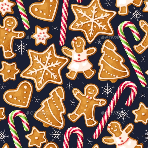 GraphicRiver Winter Seamless Patterns with Gingerbread Cookies 20954432