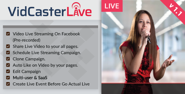 CodeCanyon VidCasterLive Facebook Live Streaming With Pre-recorded Video 20899401