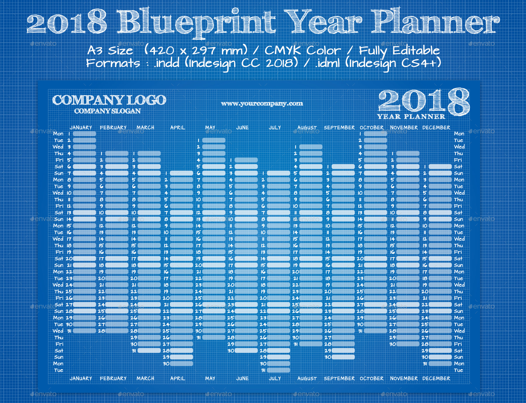 2018 blueprint year wall planner calendar by best gfx graphicriver 2018 blue print year wall calendarg malvernweather Image collections