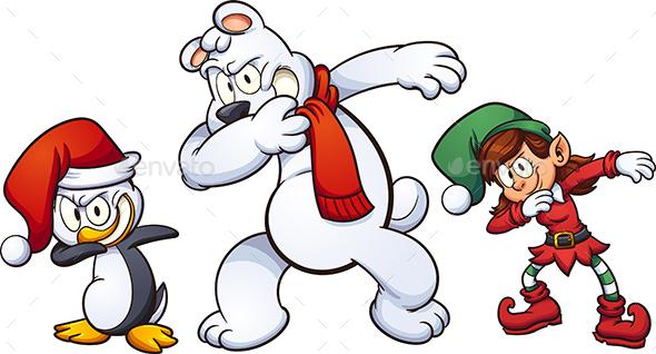 GraphicRiver Dabbing Christmas Characters 20954653
