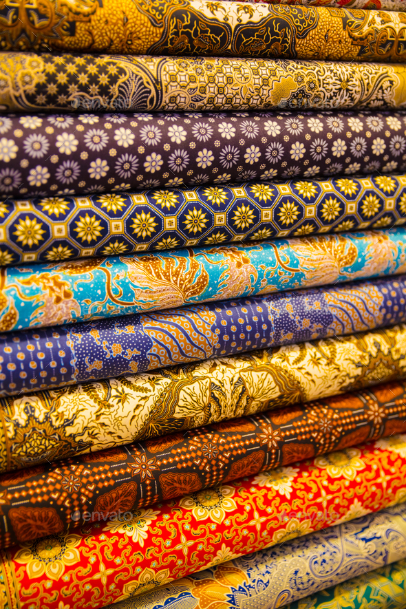 Stacked Fabric Displayed In Shop - Stock Photo - Images