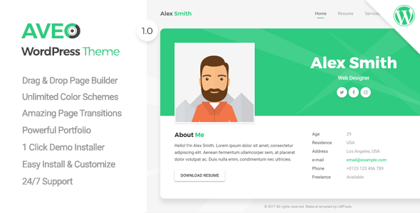 Download Aveo - Resume, CV, vCard & Portfolio Theme            nulled nulled version