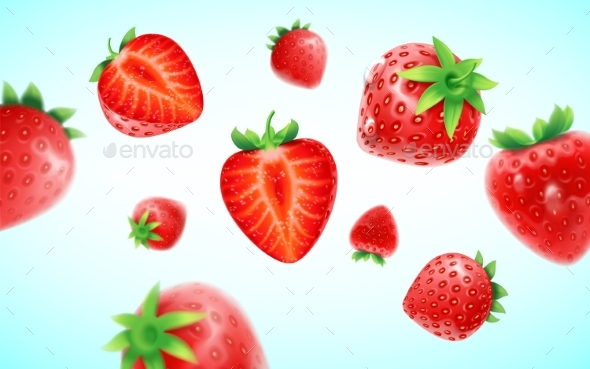 Strawberry Background - Food Objects
