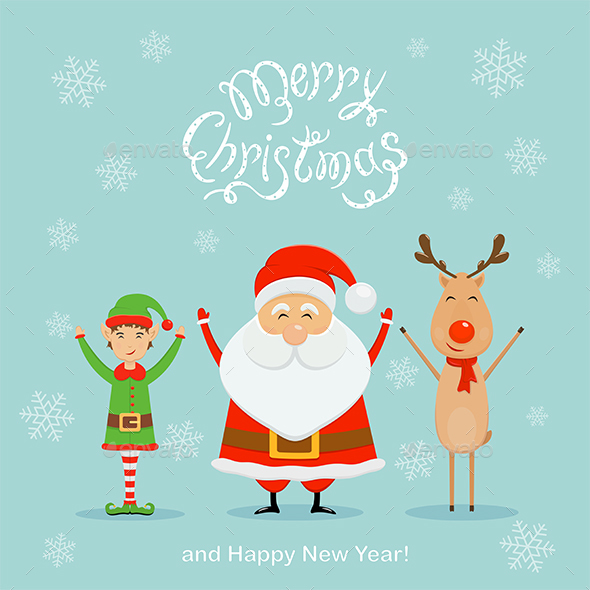 GraphicRiver Santa with Elf and Reindeer on a Blue Christmas Background 20955222